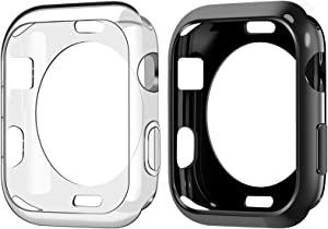 Goton Compatible iWatch Apple Watch Case 42mm Series 3 2 1, (2 Packs) Soft TPU Shockproof Case Cover Bumper Protector (Black and Clear, 42mm)
