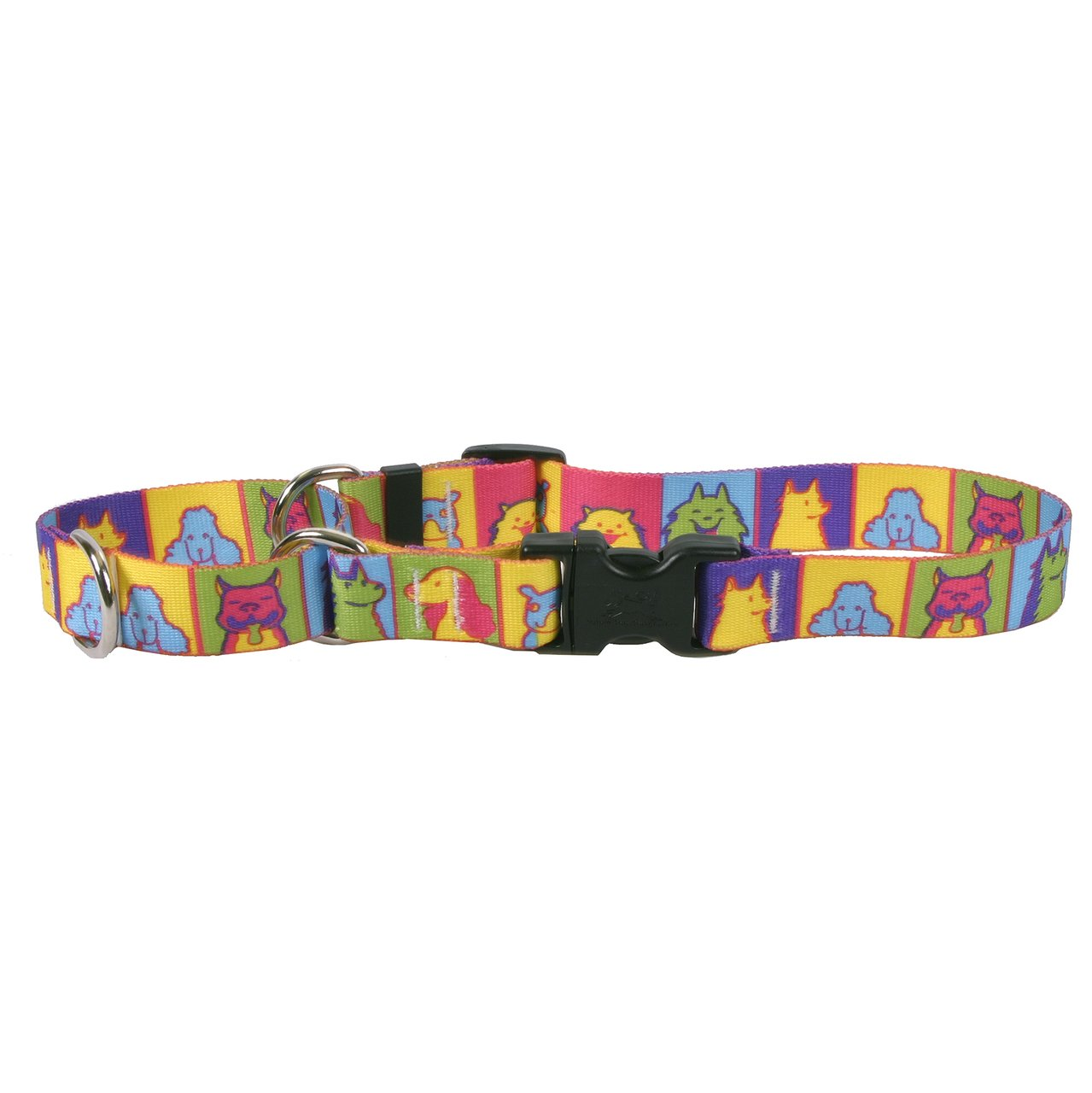 Extra Small 10\ Yellow Dog Design Pop Art Dogs Martingale Dog Collar, X-Small-3 4  Wide and fits neck sizes 9 to 12
