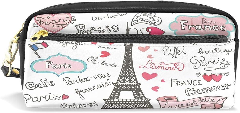 Wamika Paris Symbols Eiffel Tower - Estuche para lápices, de piel sintética, portátil, para escuela, oficina, viajes, etc.: Amazon.es: Oficina y papelería
