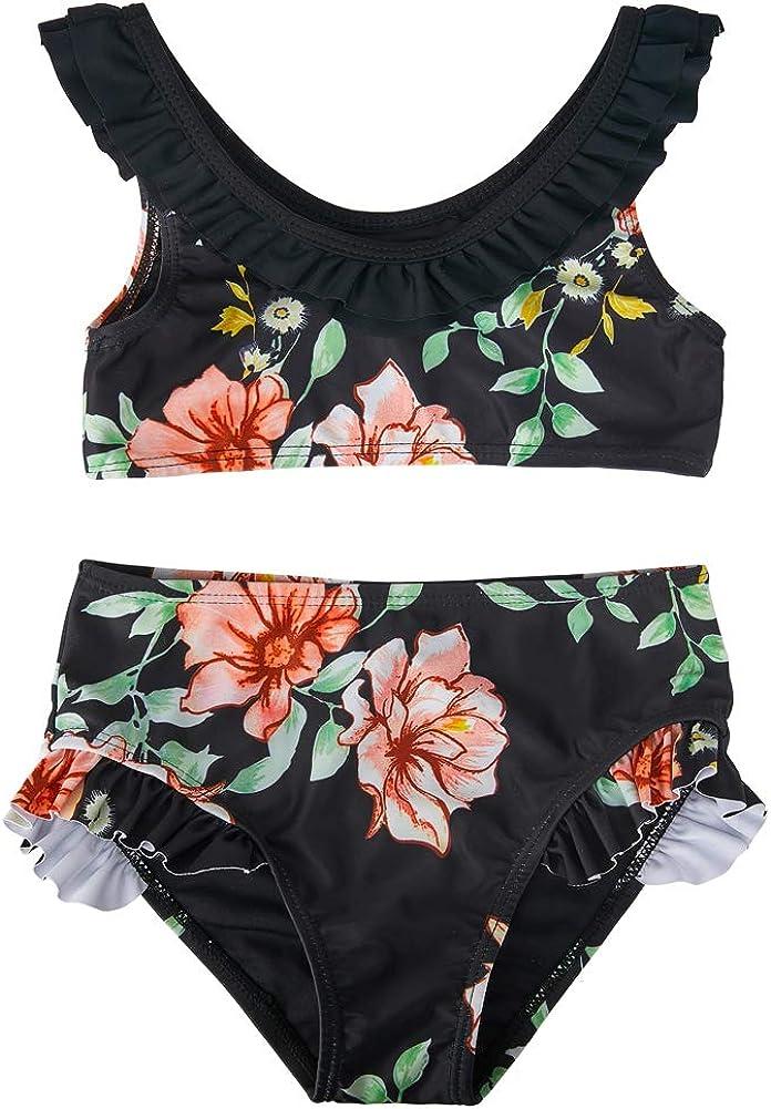 MHJY Girl Swimsuit 2-Piece Swimwear Tankini Bikini Set Flower Flounce Beachwear Bathing Suits