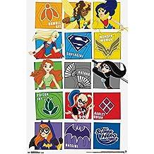 "Trends International RP14076 DC Super Hero Girls Grid Wall Décor, 22.375""x 34"""