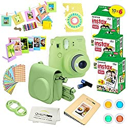 Fujifilm Instax Mini 9 Instant Camera Lime Green W Fujifilm Instax Mini 9 Instant Films (60 Pack) + A14 Pc Deluxe Bundle For Fujifilm Instax Mini 9 Camera