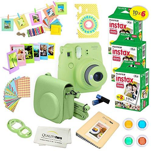 Fujifilm Instax Mini 9 Instant Camera LIME GREEN w/ Fujifilm Instax Mini 9 Instant Films (60 Pack) + A14 Pc Deluxe Bundle For Fujifilm Instax Mini 9 Camera -