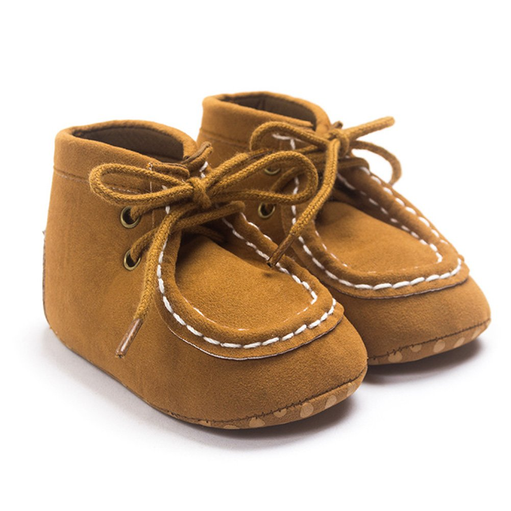 Baby Boys Faux Suede Boot Lace-up Prewalker High-Top Sneaker Toddler Shoes 0-18 Months