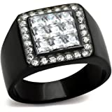 YourJewelleryBox TK2230 Princess mens BLACK IP STAINLESS STEEL MASONIC CZ SIGNET PINKY RING
