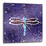 Florene Dragonfly on Purple Wall Clock, 10 by 10-Inch