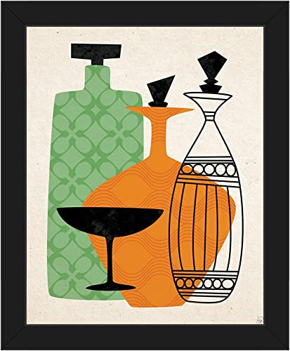 Retro Glass Green and Orange  Mid-Century Retro Modern Postmodern Geometric Shapes Abstract Painting Drawing Illustration of Liquor Bottles Wall Art Print on Canvas