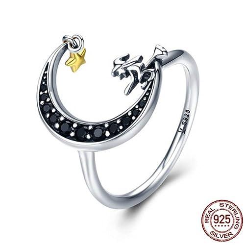 Amazon.com: Anillo de plata de ley 925 con forma de bruja ...
