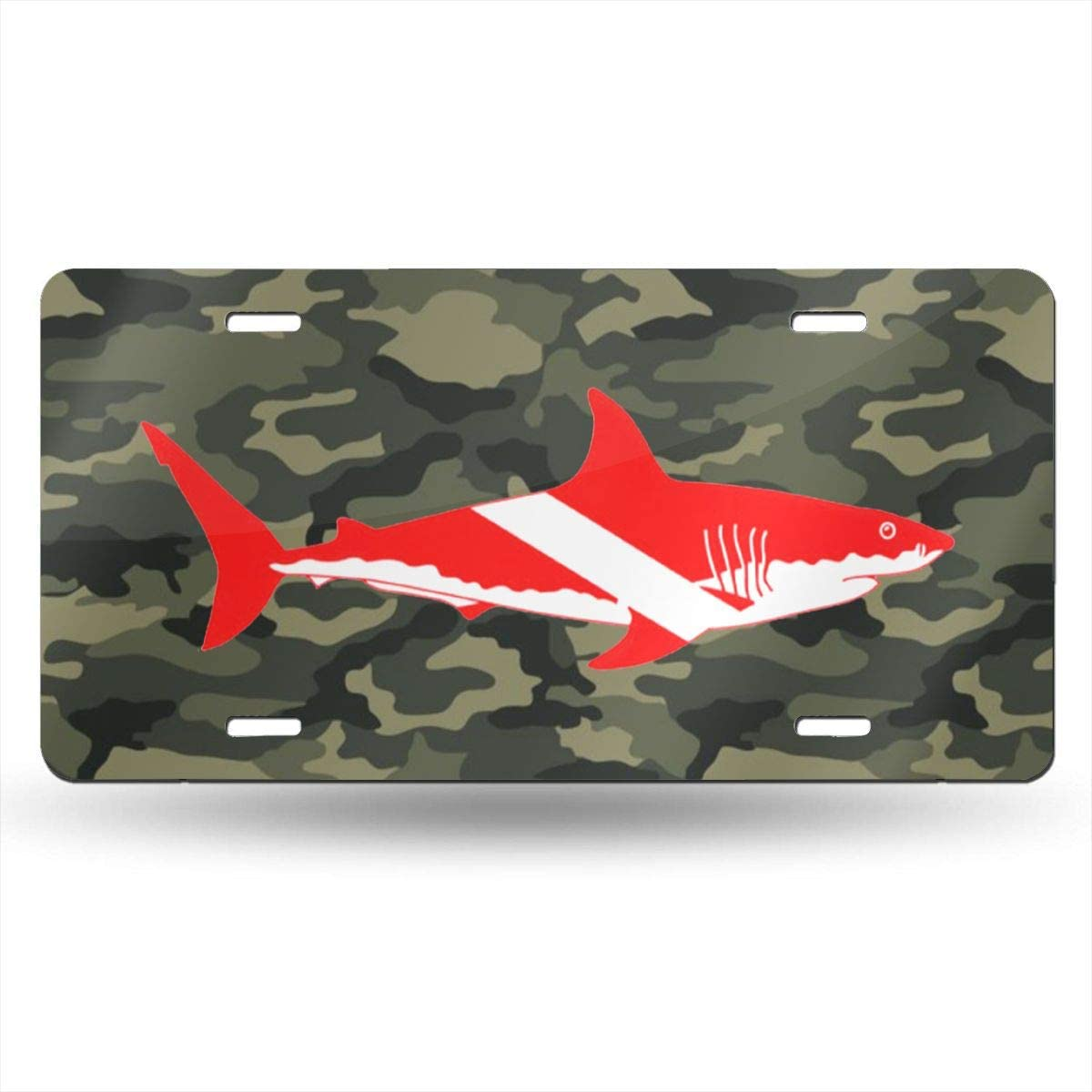 KARCARTAG Scuba Flag Great White Shark Diving Diver Novelty License Plate Tag Sign Car Accessories