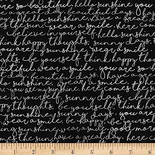 (Timeless Treasures You are My Sunshine Script Black Fabric by The Yard)