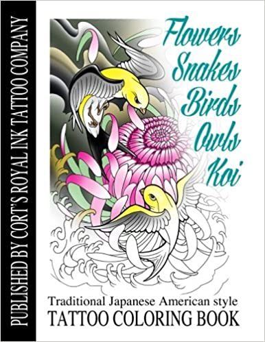 Amazon Com Flowers Snakes Birds Owls And Koi Coloring Book