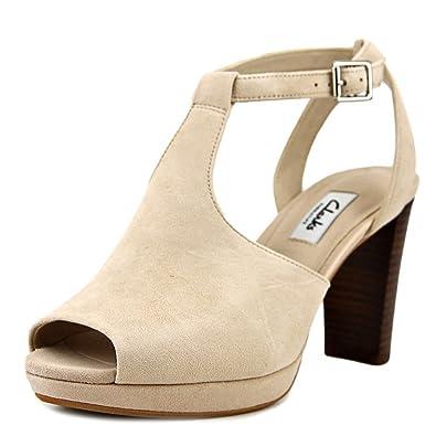 CLARKS Women's Kendra Charm Peep Toe Ankle Strap Sandal,Nude Suede,7.5