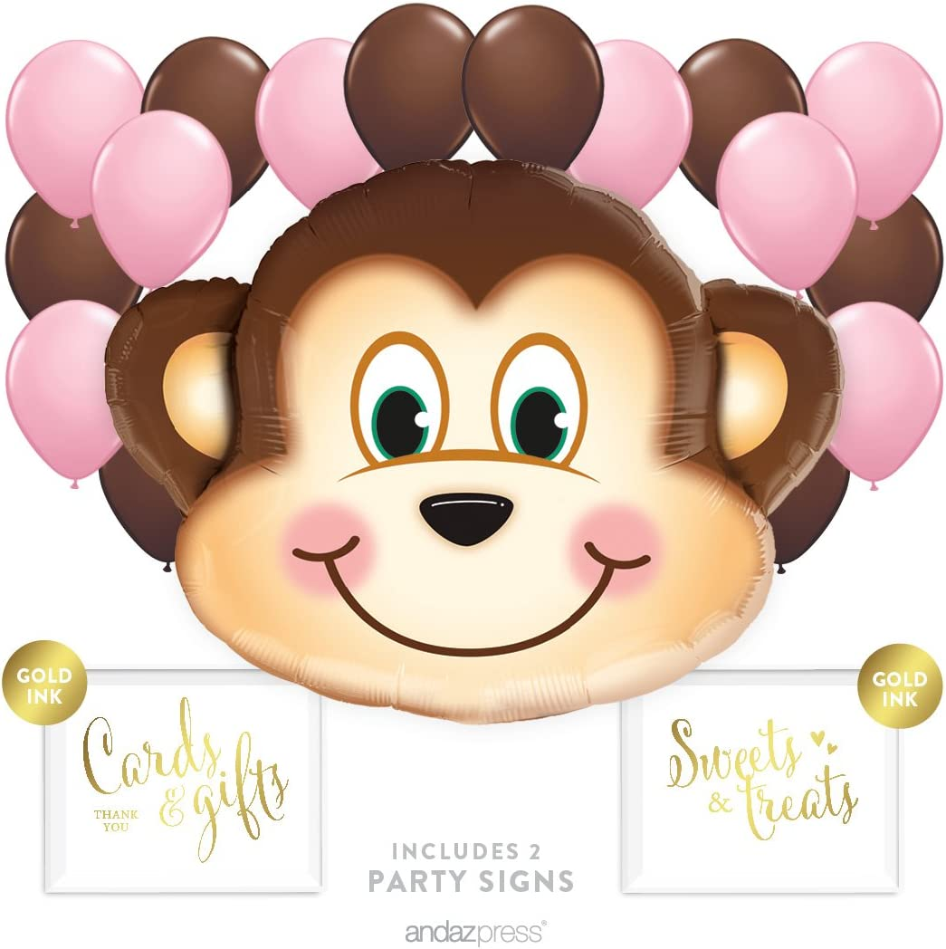 Andaz Press Balloon Party Kit with Signs, Girl Baby Shower, Monkey with Pink and Brown Balloons, Hanging Decor, Hanging Decorations, 19-Piece Kit, 1st Birthday