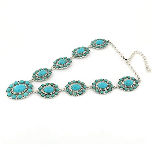 7187067ff4ee1 jianxi Vintage Alloy Synthetic Turquoise Necklace Fashion Jewelry Women