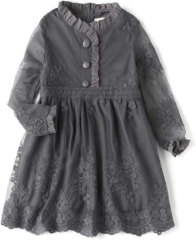 Amazon.com: Vestido de encaje con flores bordadas para niñas ...