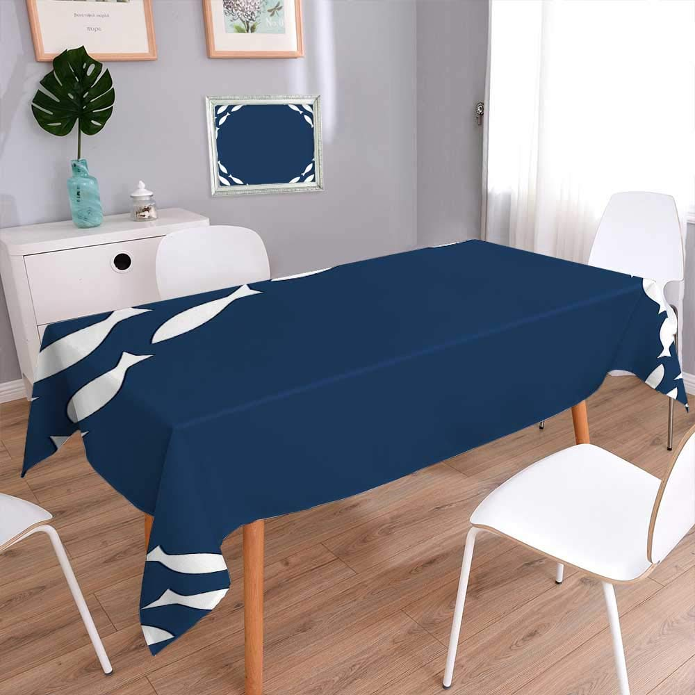 L-QN Rectangle Tablecloth Decor Ocean Navy Themed School of Cute Fish Swimming in a Circle Print Decorative Tablecloths for Kitchen Room 70''x120''