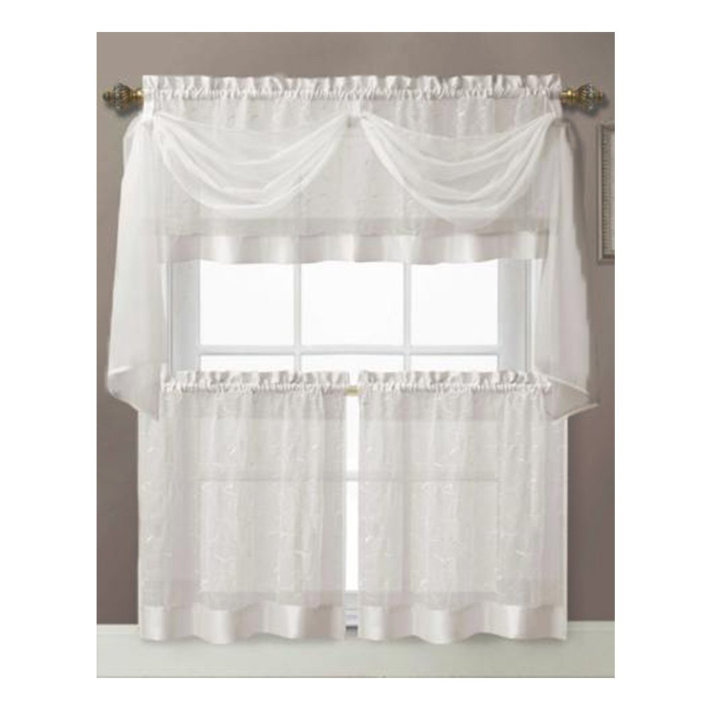 Amazon.com: Vine Embroidered Kitchen Window Curtain Set- 1 Valance ...