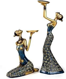 1pair Resumen de la vendimia Señora vela titular escultura