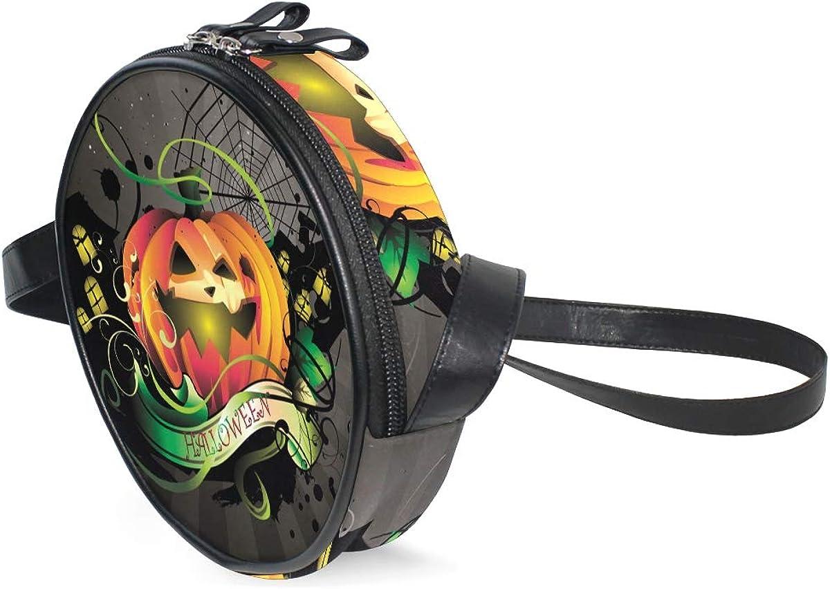 KEAKIA Halloween Pumpkin Round Crossbody Bag Shoulder Sling Bag Handbag Purse Satchel Shoulder Bag for Kids Women