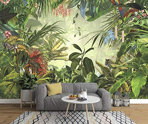 - Murwall Forest Wallpaper Tropical Leaf Wall Mural Exotic Jungle Wall Print Natural Home Decor Cafe Design Living Room Bedroom