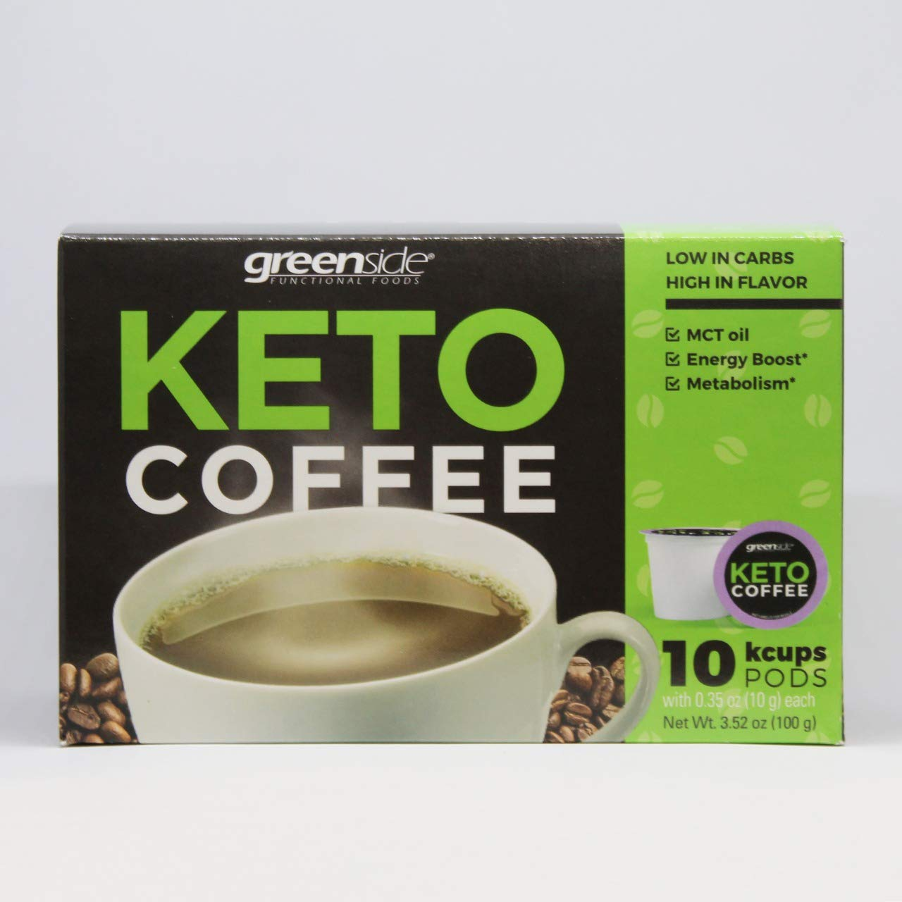 Greenside Keto Coffee French Roast with MCT Oil 150 mg, 10 K cups coffee Pods (0.35Oz/10gram each) Energy boost and metabolism, feel fresh and active all day
