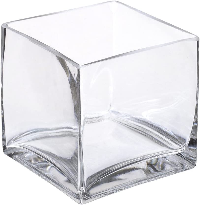 Afloral Clear Glass Square Vase – 5 Tall