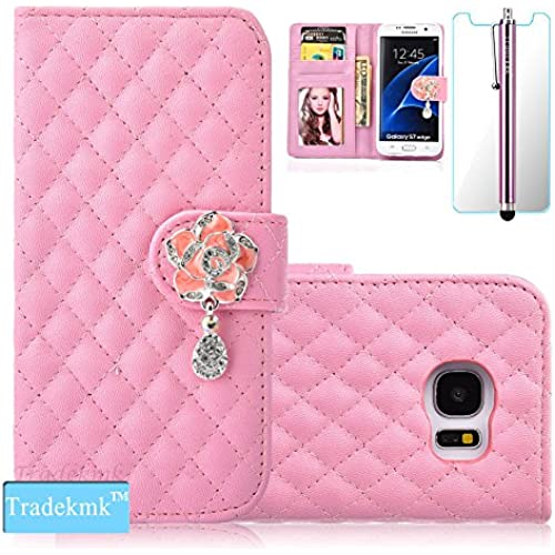 Galaxy S7 Case,S7 Case, Tradekmk(TM); Camellia Design PU Leather Card Holders And Stand Wallet Phone Case (Pink Sales