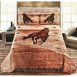 Western Collection Wild West Running Horse Desert Star Cabin Lodge Luxury Quilt Bedspread Coverlet Comforter 3 Piece Brown Set (California King, Beige Brown)