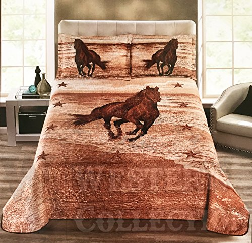 Western Collection Wild West Running Horse Desert Star Cabin Lodge Luxury Quilt Bedspread Coverlet Comforter 3 Piece Brown Set (California King, Beige Brown)