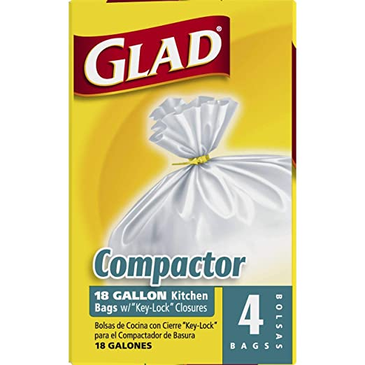 Glad Compactor Kitchen Trash Bags - 18 Gallon White Trash Bag - 4 count