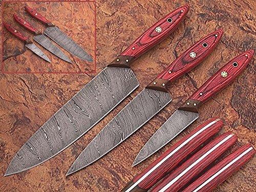 1046Gr Custom Made Damascus Steel Kitchen Chef Knife Set 3 Pcs Wood...