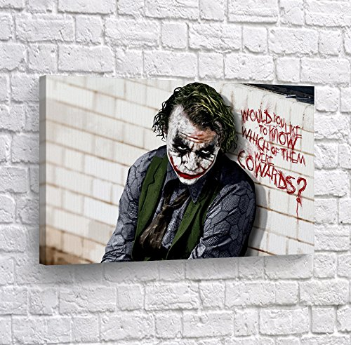 Joker Heath Ledger The Dark Knight Quote Canvas Print Wall Art Vector Digital Painting Decorative Home Decor Poster Artwork Framed and Stretched- Ready to Hang -%100 Handmade in The USA - 24x36