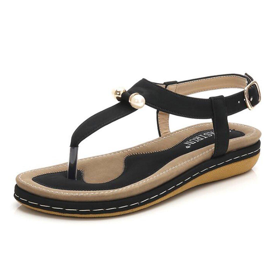 Frauen Sommer Sandalen Rouml;mersandalen Mode Muffin Plateau Sandalen  385 EU|Black