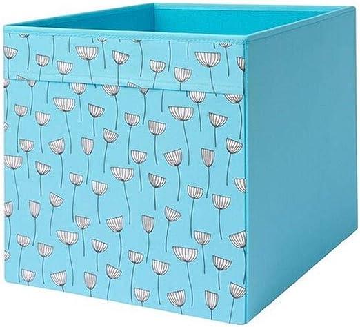 IKEA Drona - Caja con diseño de flores (33 x 38 x 33 cm), color azul: Amazon.es: Bricolaje y herramientas