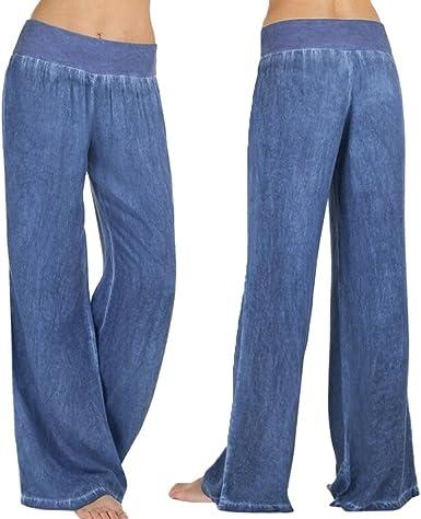 Womens High Waist Wide Leg Pants,Ladies Loose Wide Leg Palazzo Trousers Jeans