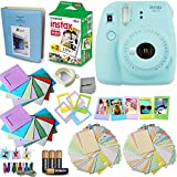 Fujifilm Instax Mini 9 Instant Camera (Ice Blue) + Accessory Kit, Includes: INSTAX Mini Instant Film (20 pack) + 120 Assorted Sticker, Plastic & Paper Frames + Photo Album + 4 AA Batteries + MORE