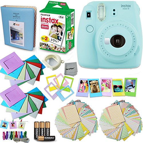 Fujifilm Instax Mini 9 Instant Camera (Ice Blue) + Accessory Kit, Includes: INSTAX Mini Instant Film (20 pack) + 120 Assorted Sticker, Plastic & Paper Frames + Photo Album + 4 AA Batteries + MORE by HeroFiber