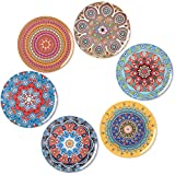 BOHORIA Premium Design Coasters (Set of 6) - Decorative Coasters for Glass, Cups, Vases, Candles on Dining Table made of Wood, Glass or Stone (Round | 9cm) (Mandala Edition)