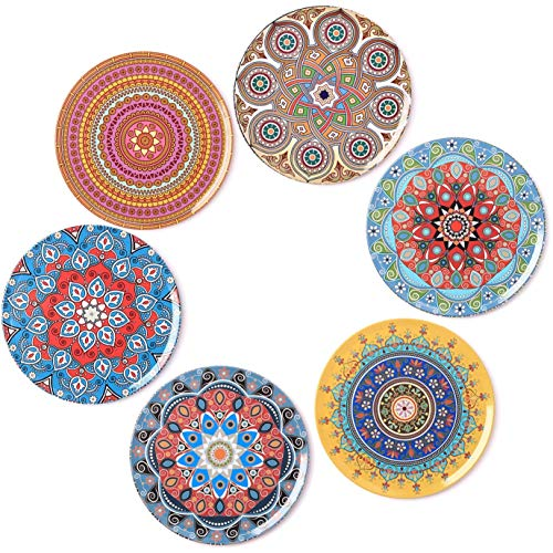(BOHORIA Premium Design Coasters (Set of 6) - Decorative Coasters for Glass, Cups, Vases, Candles on Dining Table made of Wood, Glass or Stone (Round | 9cm) (Mandala)