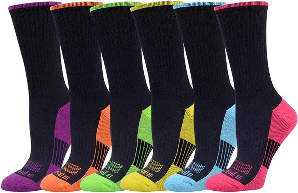 Amazon.com: JOYNÉE Womens-Crew-Athletic-Socks Cushion Running with Moisture  Wicking for Sports and Daily Wear 6 Pairs,Sock Size 9-11,Black: Clothing