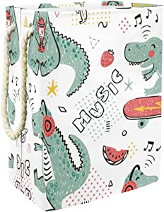 DEYYA Music Lover Dinosaur Skateboard Dino Pattern Collapsible Laundry Hampers Large Laundry Baskets Storage Bin for Bathroom Bedroom Organization