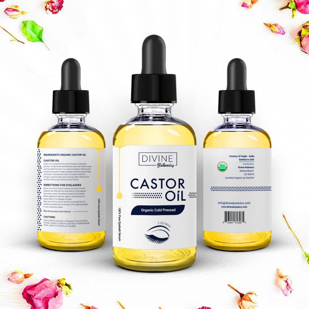 Big 2 oz Pure Organic Castor Oil With Set of 10 Brushes for Eyeliner & Eyelash Growth Serum - grows Longer, thicker Eyelashes & Beautiful Eyebrows.