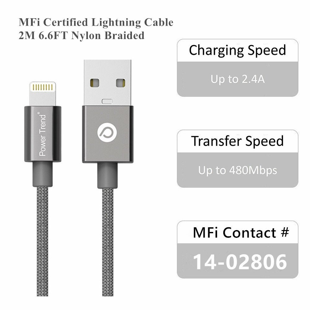 Power Trend MFI Certified 2M 6.6FT Nylon Braided USB to Lightning Cable Data Charging Cord for iPhone 5/5C/5S/SE/6/6S/7/7 Plus/iPad/iPod Nano 7 (Space Gray) by Power Trend (Image #2)