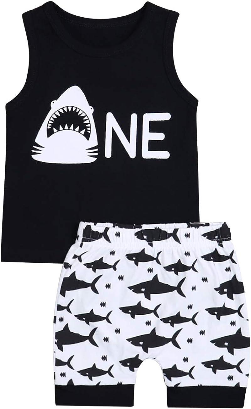 Baby Boy Girl Clothes Shark and Doo Doo Print Summer Cotton Sleeveless Outfits Set Tops and Short Pants