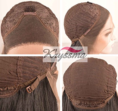 Kryssma Fashion Ombre Blonde Glueless Lace Front Wigs 2 Tone Color Light Brown Roots 12 Side Part Long Natural Straight Heat Resistant Synthetic Hair Replacement Wig For Women Half Hand Tied
