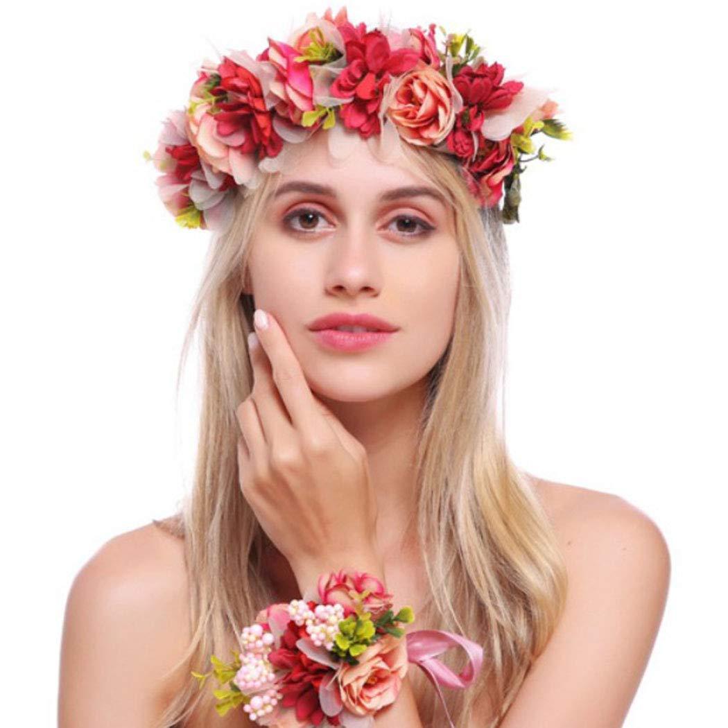 Dame Blumen Haarband Stirnband Festival Party Hochzeit Rose Rot S3T4 5X