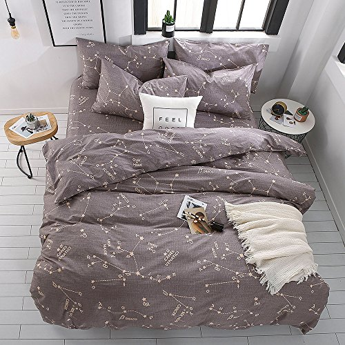 BuLuTu Bedding Constellation Print Twin Bedding Sets Cotton Reversible Space Kids Duvet Cover Sets Grey For Kids Adults Zipper Closure With Ties,Gift Ideas for Men,Women,Friends,Family,NO COMFORTER