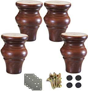 MWPO 4pcs Solid Wood Furniture Legs,Gourd Shape Sofa Feet,Kitchen Furniture Foot Replacement,for Couch Feet Chest of Drawers Bed Cabinet DIY Furniture Project,with Hardware Parts(brown6cm/2.4in)