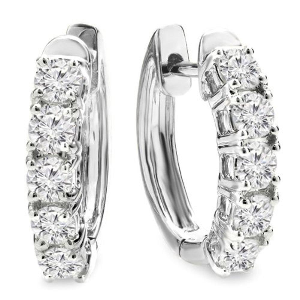 1.00 Carat (ctw) 14K White Gold Round White Diamond Ladies Huggies Hoop Earrings 1 CT by DazzlingRock Collection
