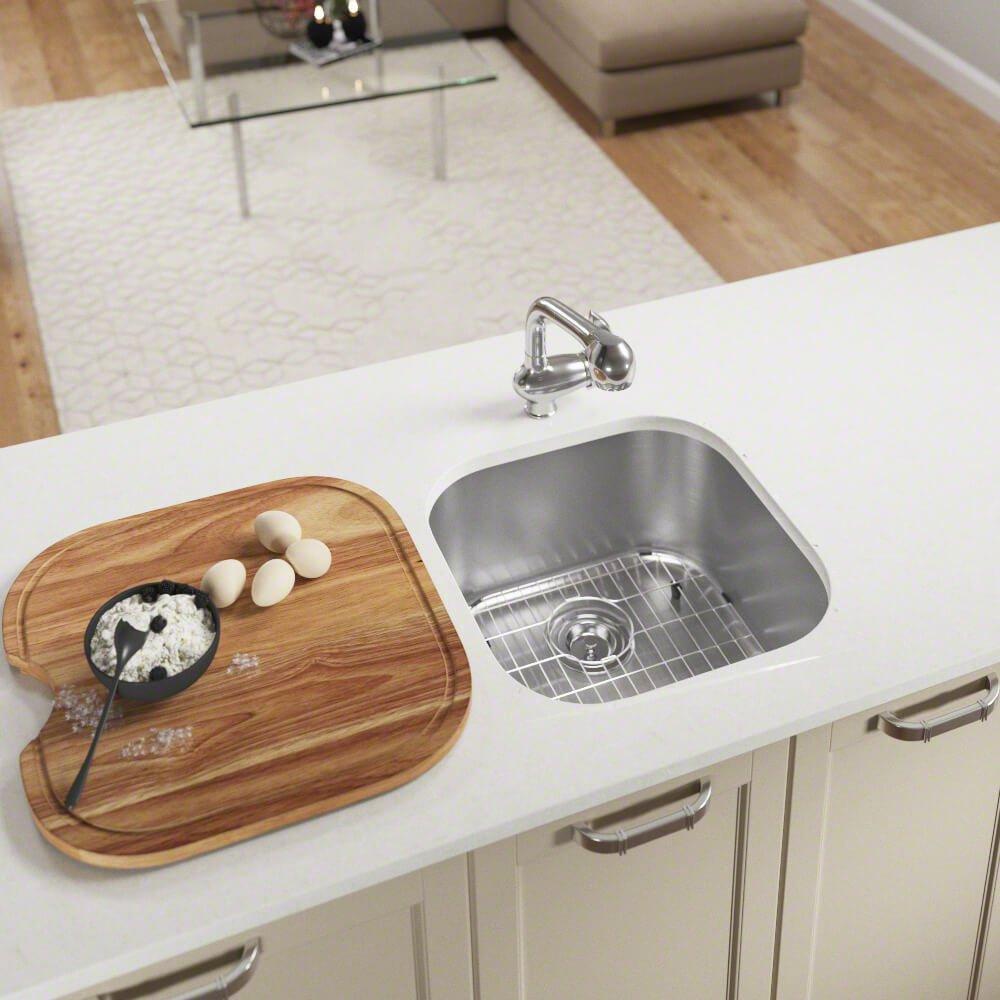 2020 16 Gauge Stainless Steel Kitchen Ensemble Bundle – 4 Items Sink, Basket Strainer, Sink Grid, and Cutting Board